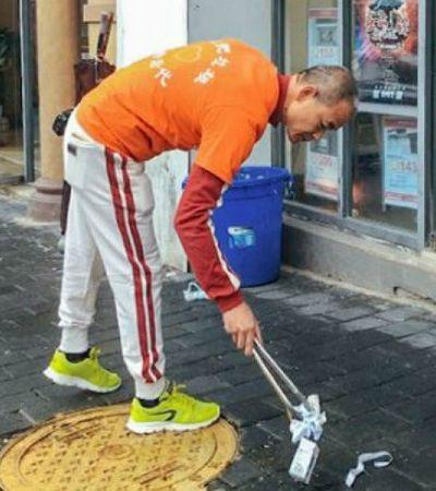 O milionário chinês que dedica seu tempo livre a recolher lixo das ruas
