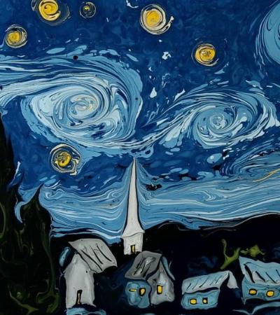 A maravilhosa técnica que reproduz quadros de Van Gogh na água