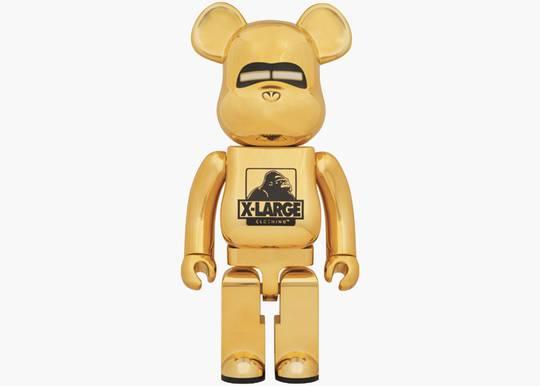 Bearbrick x XLarge x Hajime Sorayama 1000% Gold Hype Clothinga Limited Edition
