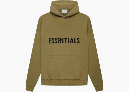 Fear of God Essentials Knit Pullover Hoodie Amber