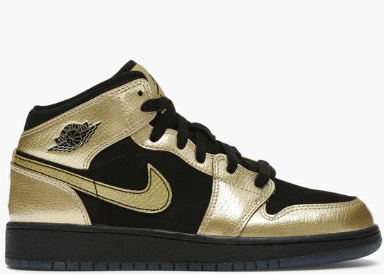 Nike Air Jordan 1 Mid Metallic Gold Coin Black (GS) 555112-905 Hype Clothinga Limited Edition