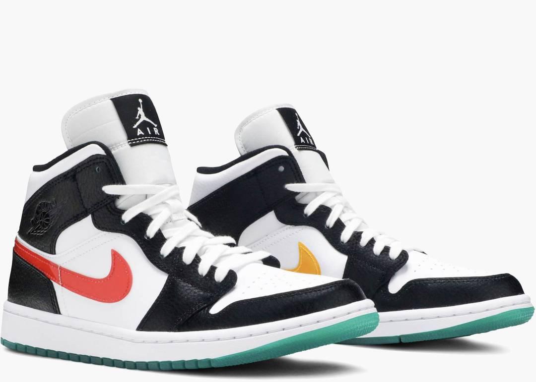 Nike Air Jordan 1 Mid Alternate Swooshes Red Yellow (W)