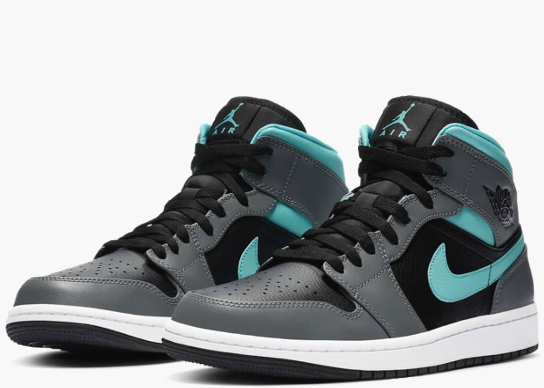 Nike Air Jordan 1 Mid Grey Aqua (GS) | Hype Clothinga
