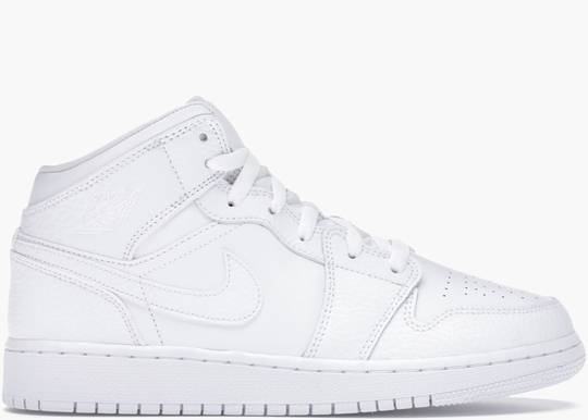 Nike Air Jordan 1 Mid Triple White (GS)