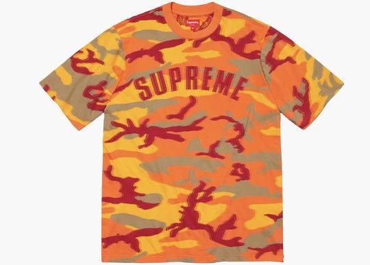 Supreme Intarsia Camo S/S Top Orange Camo Hype Clothinga Limited Edition
