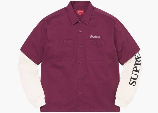 Supreme Thermal Work Shirt Dusty Maroon Hype Clothinga Limited Edition