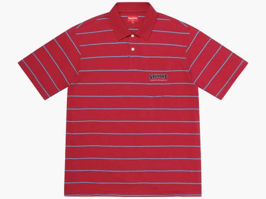 Supreme / Thrasher Stripe Polo Red Hype Clothinga