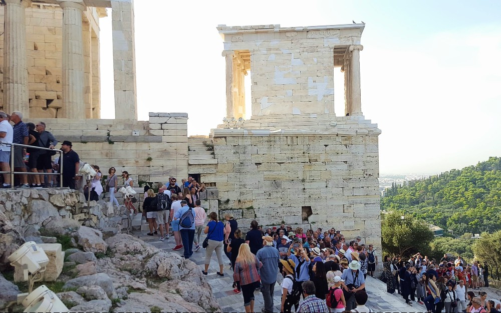 The entrance to the Acropolis can get crowded.
