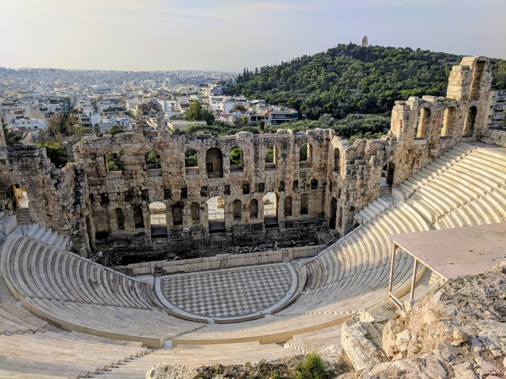 An ancient theater next to the Acropolis.
