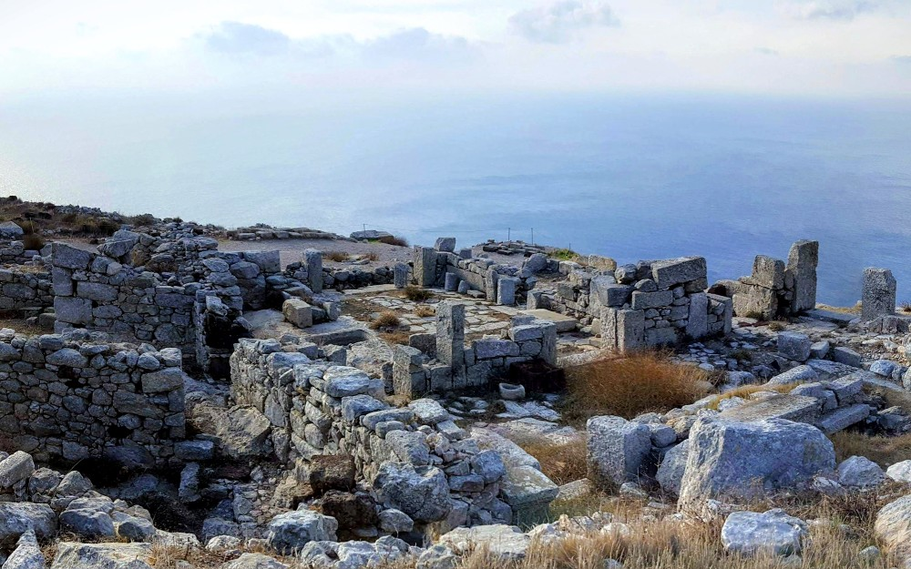 Ancient Thera, perched atop the cliffs on Santorini looking south over the Aegean sea, towards Crete.