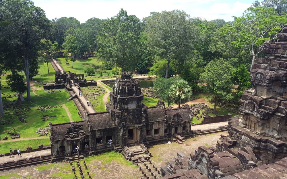 View over part of the Angkor Thom complex from on top of a temple.
