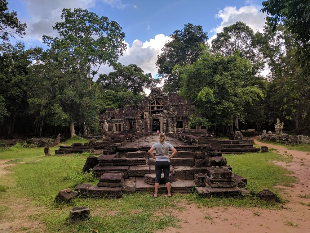 Taking in one of the many temples surrounding the Angkor Wat complex.