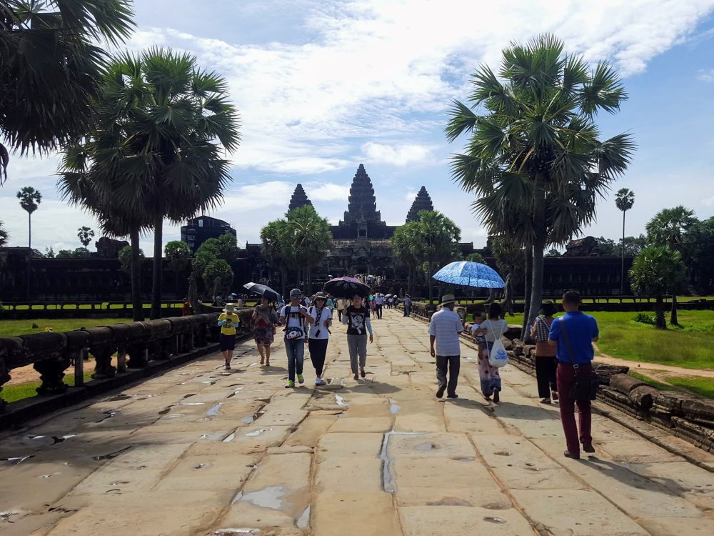 The main complex at Angkor Wat—we should have brought an umbrella.
