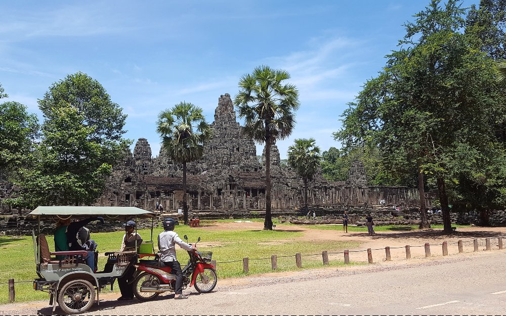 A motorcycle taxi parked near the Angkor Thom complex.