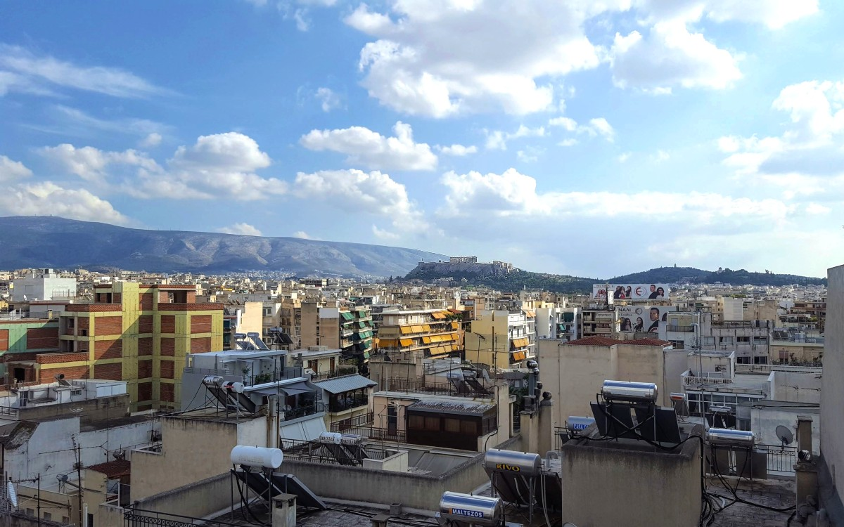 A view of the Aropolis from the roof of our Airbnb in Athens.