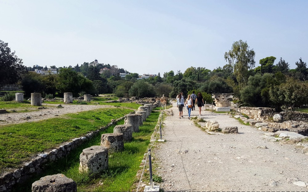 Walking through the ruins of the Agora in Athens.