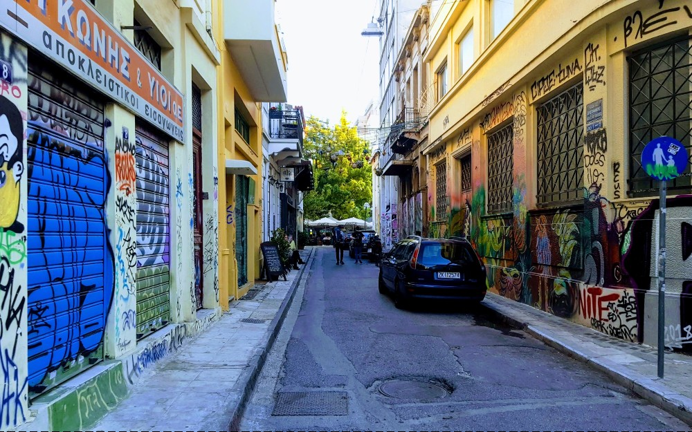 Some of the artwork in the alleys of modern day Athens.