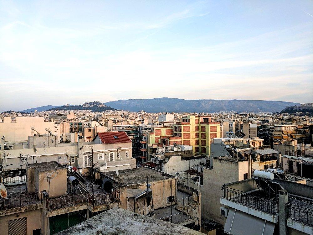 Athens at sunset.