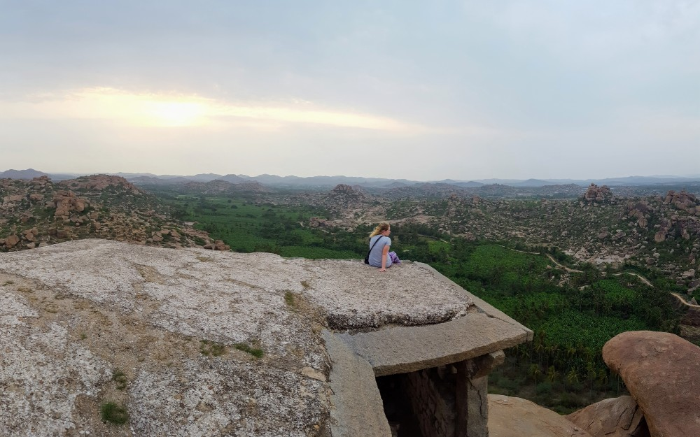 A view overlooking the ruins of Hampi.