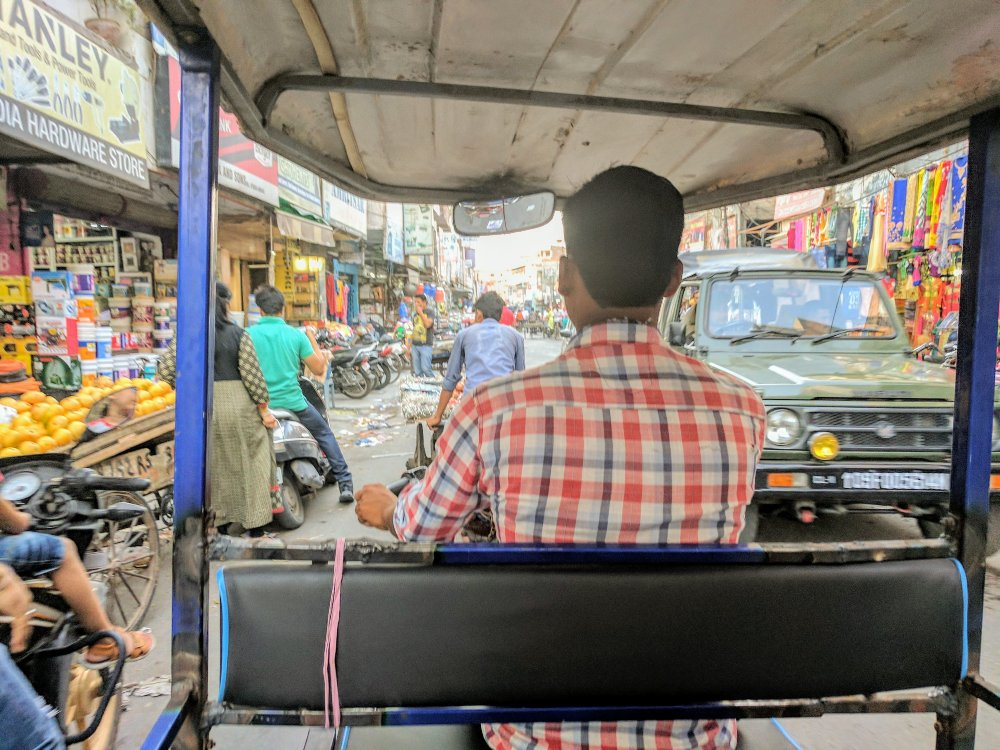 A tuk tuk through the congested streets of Amristar, India.