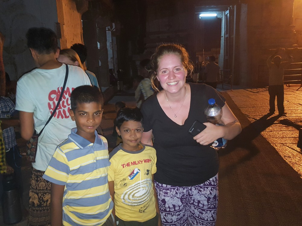 Picture of Janice with some kids in Hampi who were eager to get their pictures taken with us.