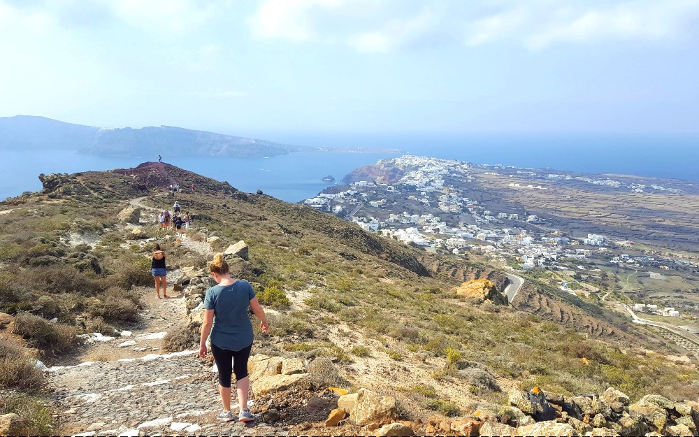Nearing the end of our trek along the caldera: you can see Oia from a distance.