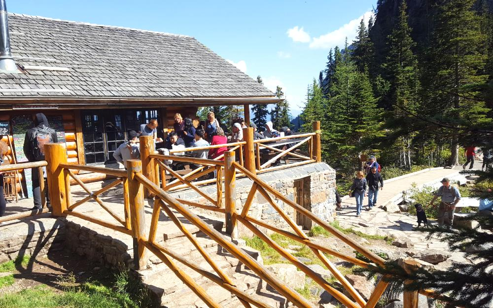 Here's one of the teahouses at Lake Louise, in summer.