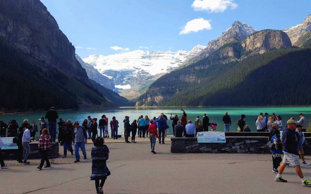 Lake Louise in Summer, fully melted.