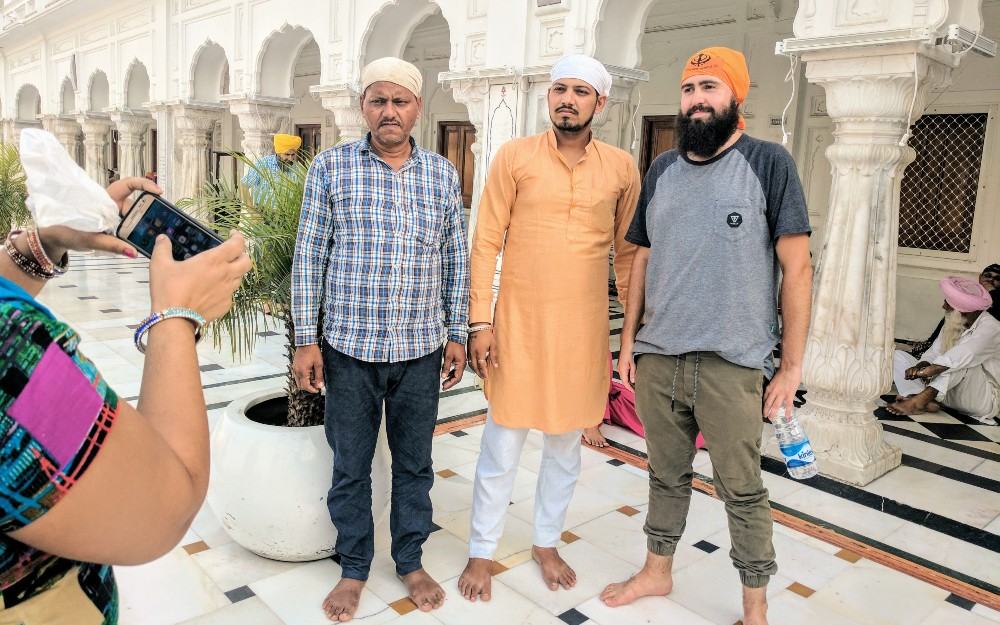 Blending in with the Sikh people at the Golden Temple.