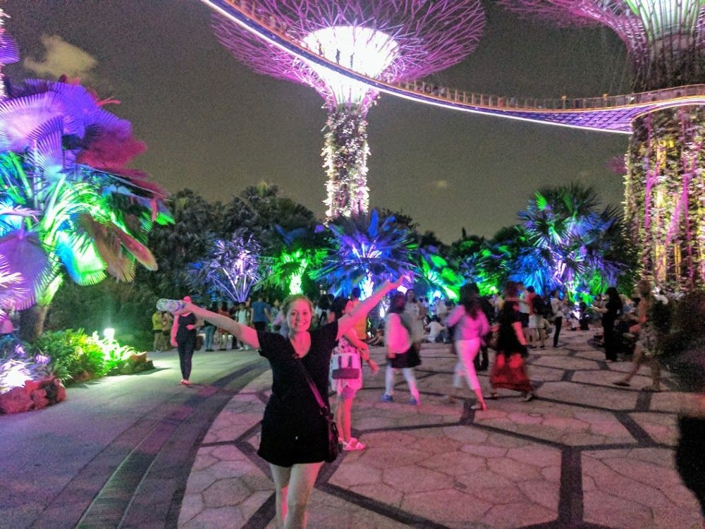 Prancing around during the light show at the Gardens by the Bay (free!).