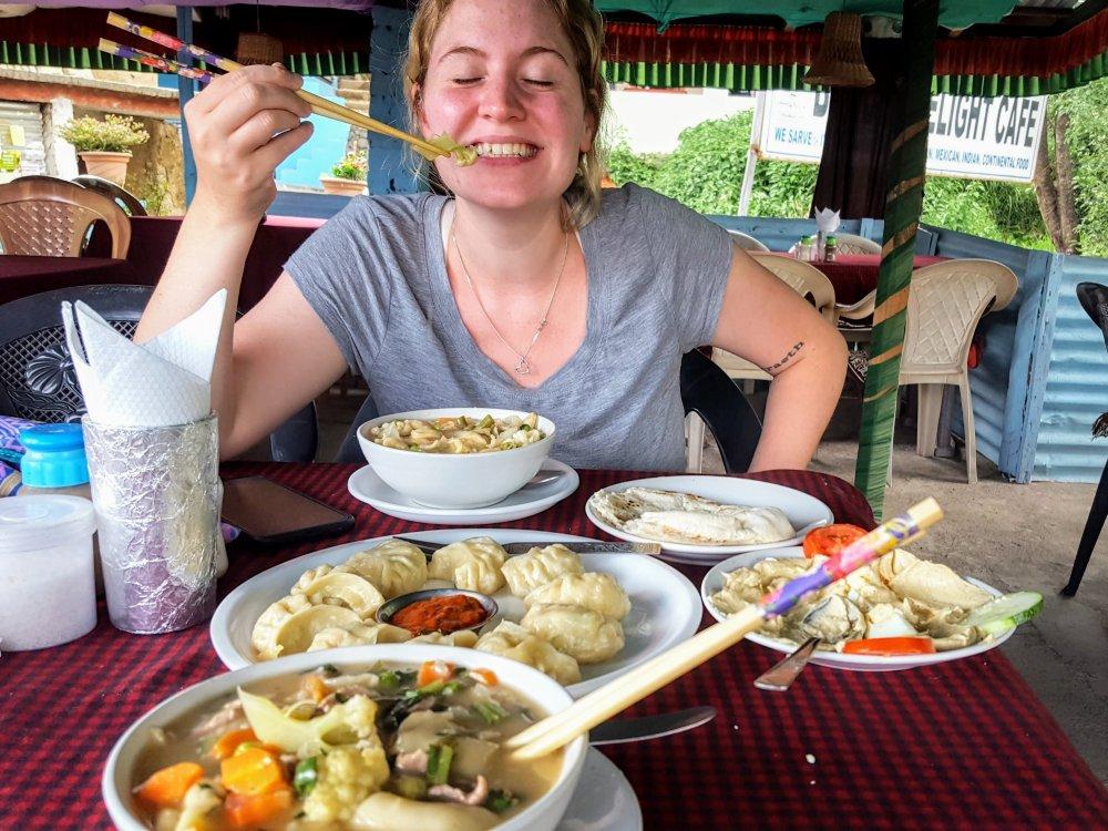 A Tibetan feast: thukpa (noddle soup) and momos (dumplings).