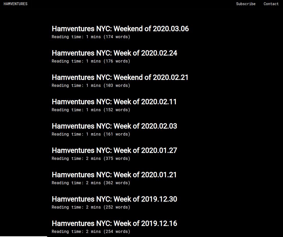 New hamventures standalone site