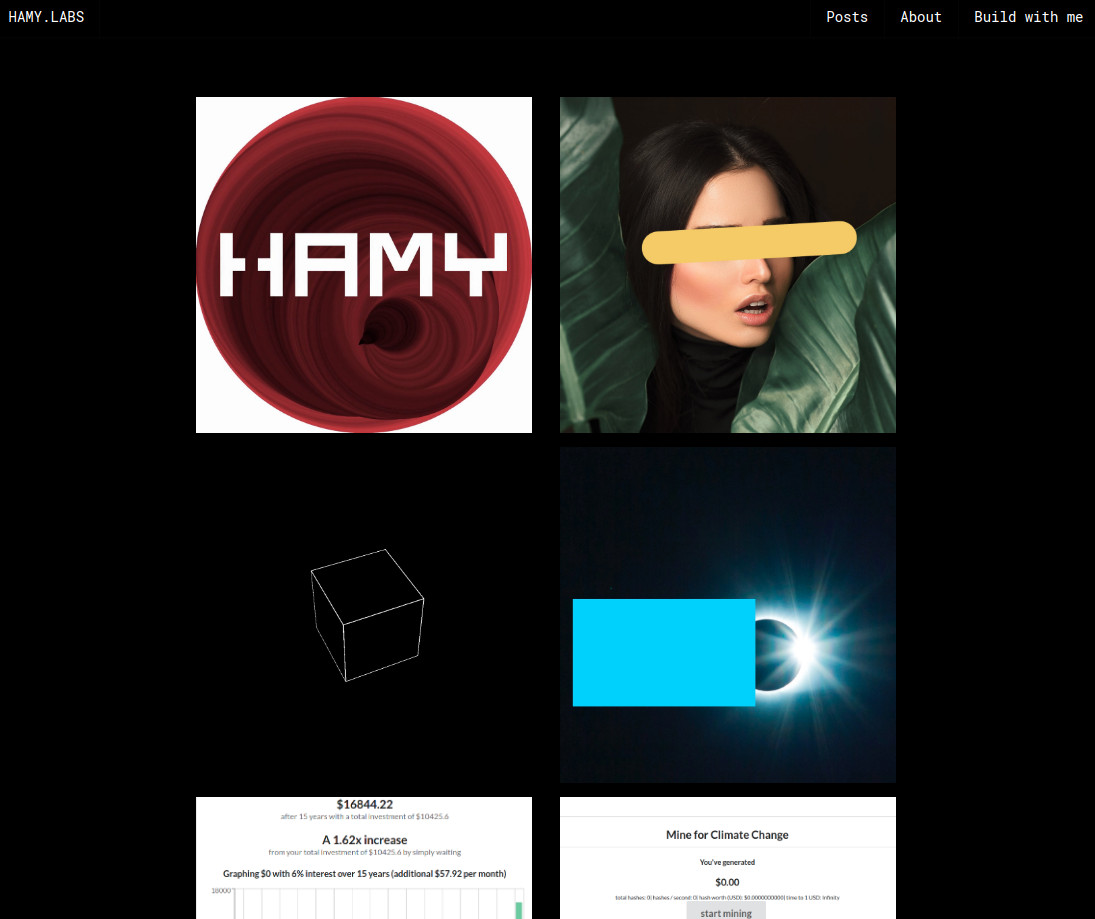 The new HAMY.LABS home page