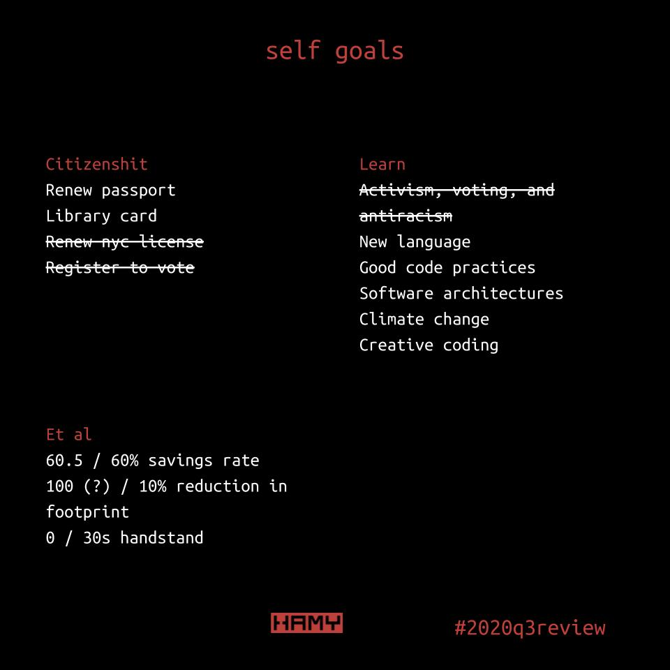 2020 Q3 self goals