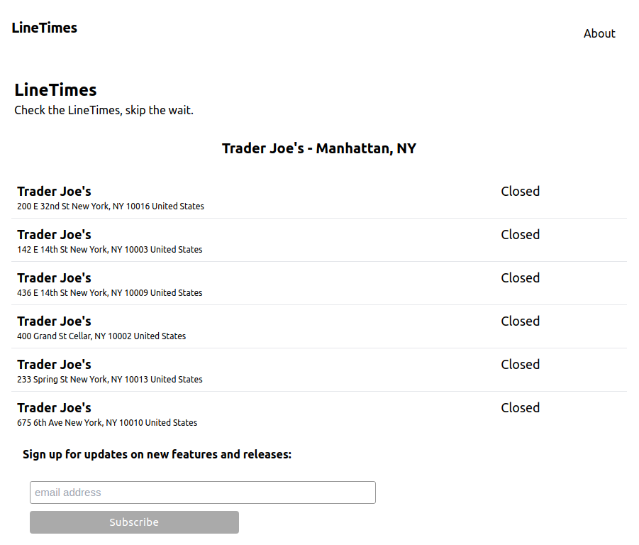LineTimes Closed