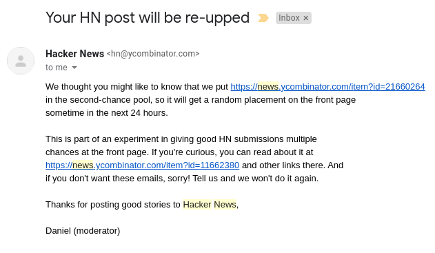 email from Hacker News moderator