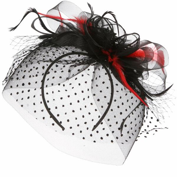 Folora 1920s Veil Fascinator Hat Mesh Ribbons Headbands with Fancy Feather Cocktail Tea Party Headwear for Women Girls