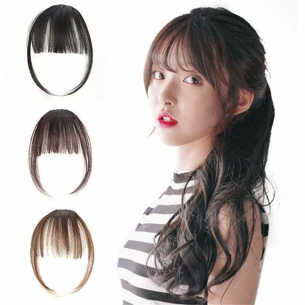 Natural Synthetic Hair Flat Bangs/Fringe Mini Hair Bangs Fashion one Clip-in Hair Extension(Dark Brown)