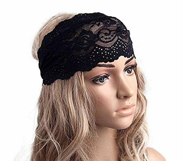 1PC Black Elastic Fashion Hairband Headwear Nonslip Hair Band Sport Yoga Lace Wide Headband Turban Bohemian Headscarf Wrap Hair Accessories For Women Girls