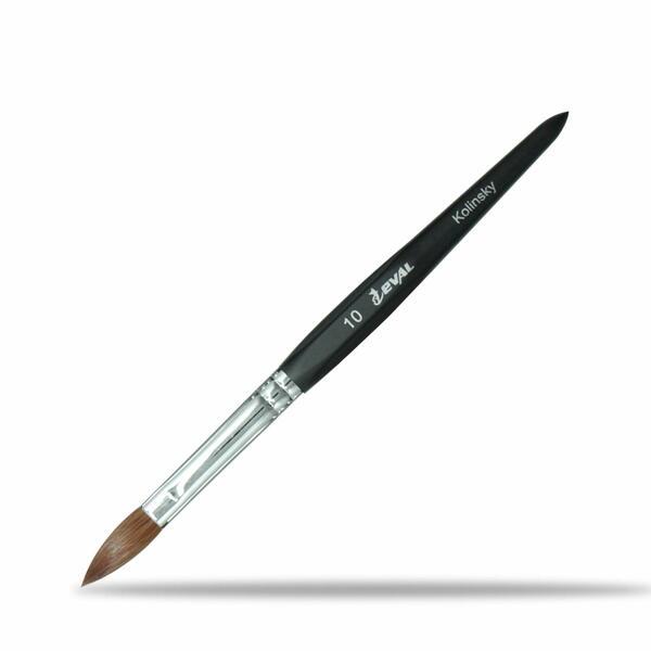 1PCS Eval Six Angles 100% Kolinsky Sable Hair Brushes Acrylic Nail Brush Professional UV GEL Nail Art Tool for acrylic application Manicure Powder Pedicure Black handle (Size #10)
