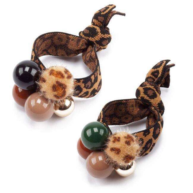 Womens Girls Leopard Animal Print Pom Pom Balls Elastic Hair Ties Rings Ponytail Holder Hair Accessories (Set of 2)