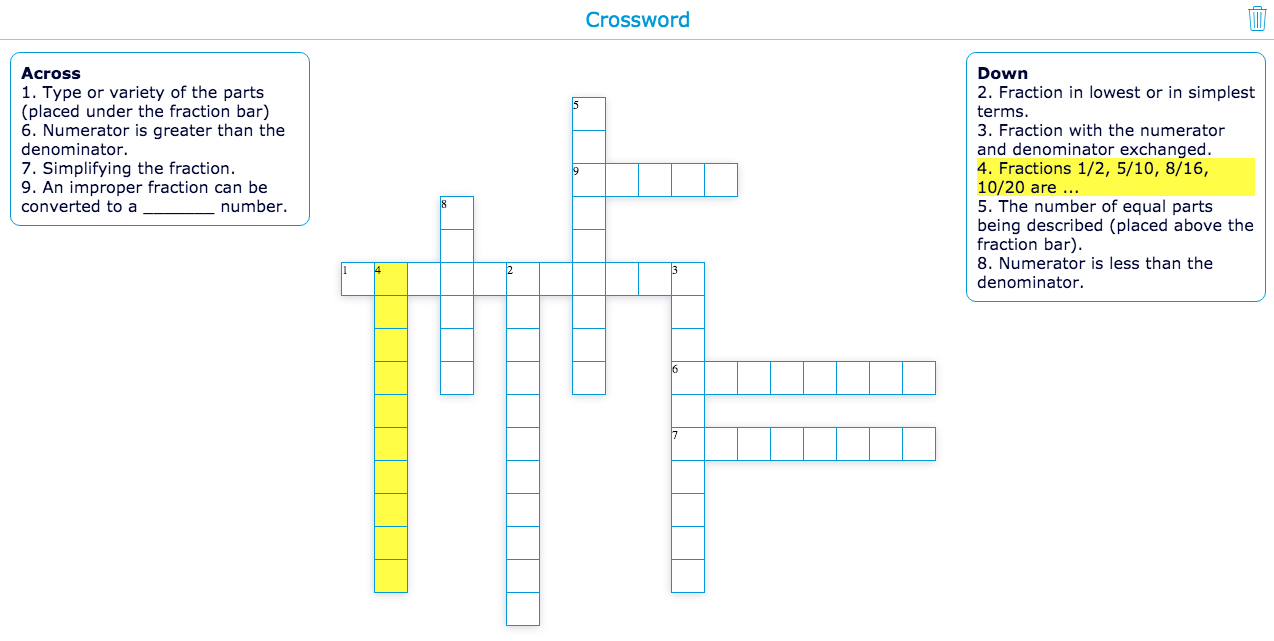 Fractions with the crossword widget
