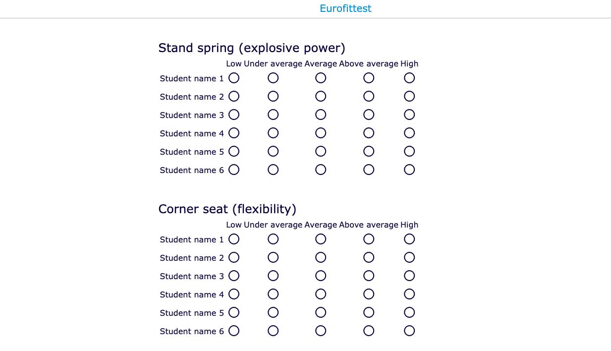 eurofittest evaluation form PE lesson