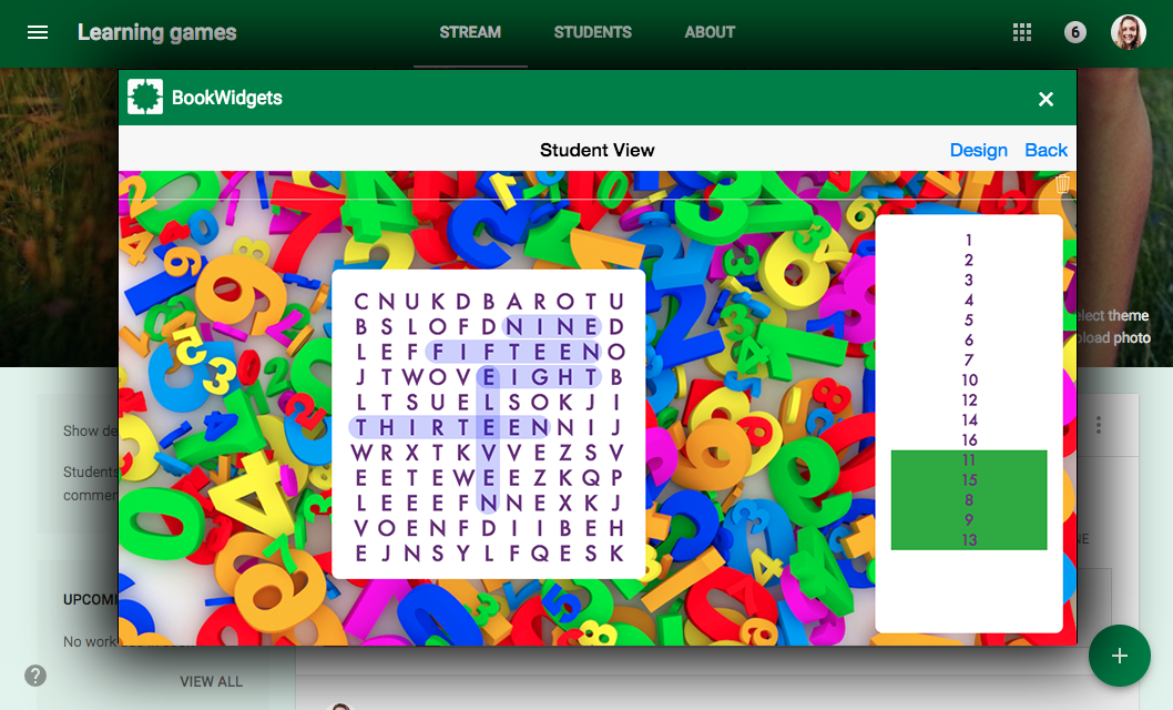learning game Wordsearch in Google Classroom