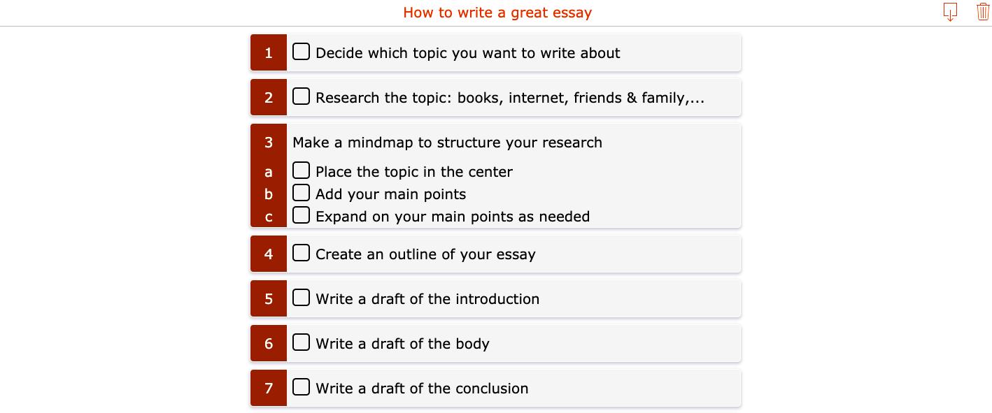 writing an essay - checklist
