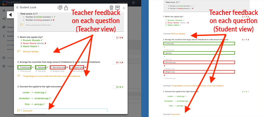Teacher feedback per question in BookWidgets