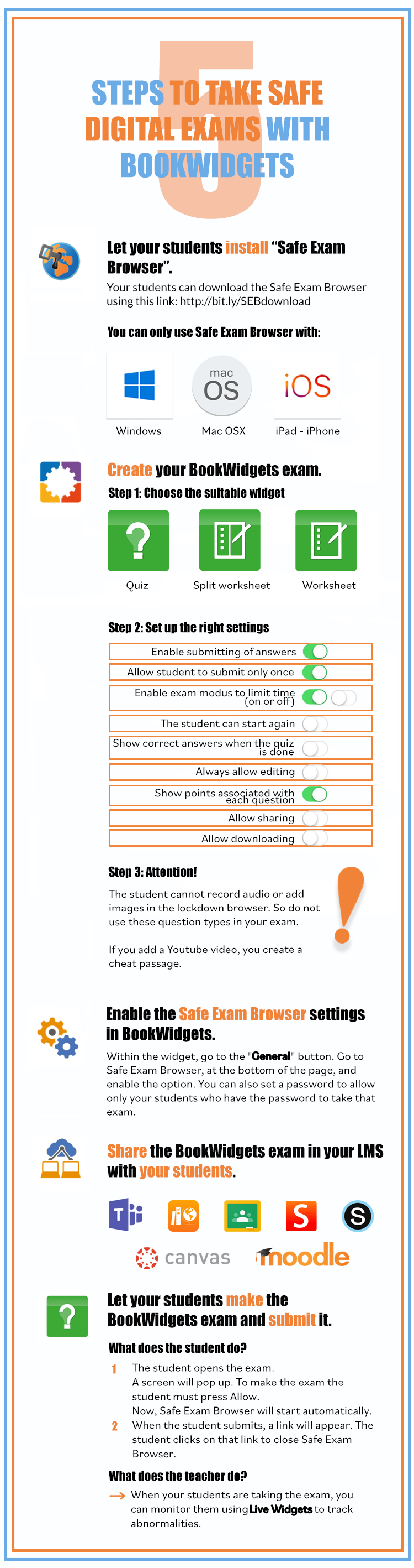 5 steps to take safe digital exams with BookWidgets