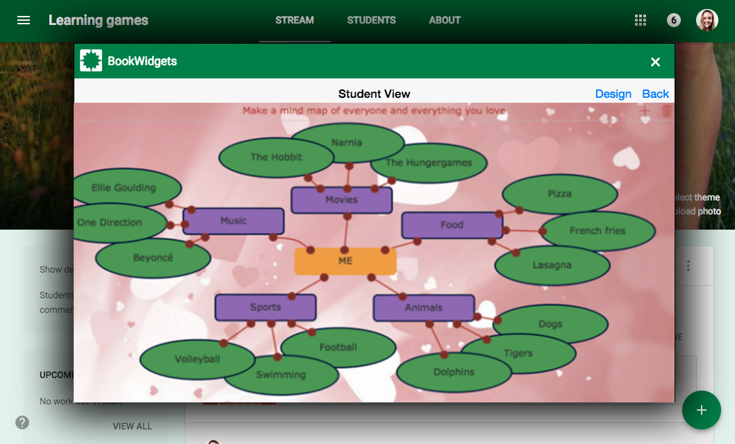 learning game Mind map in Google Classroom