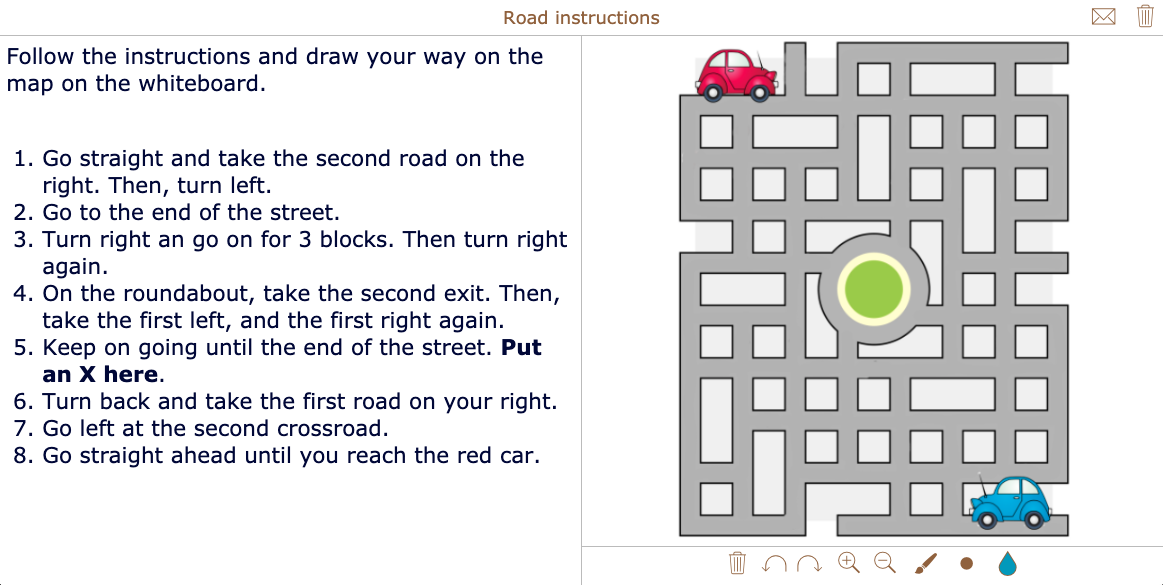 Reading exercises - road instructions