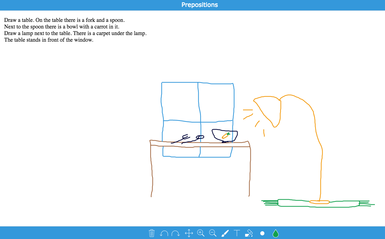 preposition exercise: whiteboard